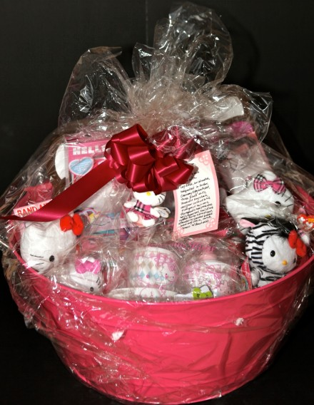 Hello Kitty basket (pink party tub with various Hello Kitty items) - $140
