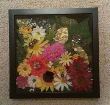 Handcrafted Shadow Box: Karen Char - Flower Garden
