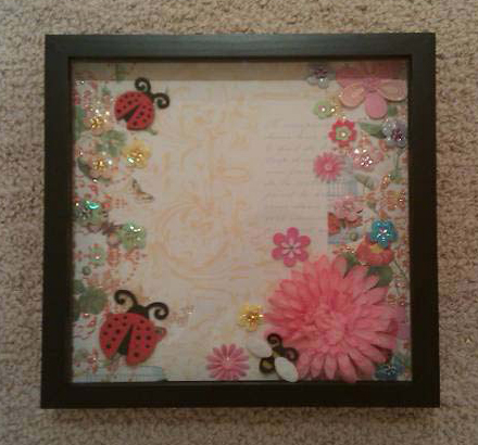 Handcrafted Shadow Box: Zale Okazaki - Flower Power