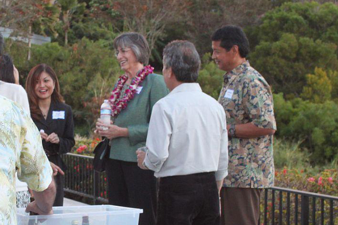 Fmr. Gov. Linda Lingle, Andrew Torres, George Eguchi (back to camera)